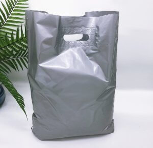 Patch handle bag 400*500 mm, without printing, LDPE A6, SILVER -Chernigov Package - Фото 40х50_серебро