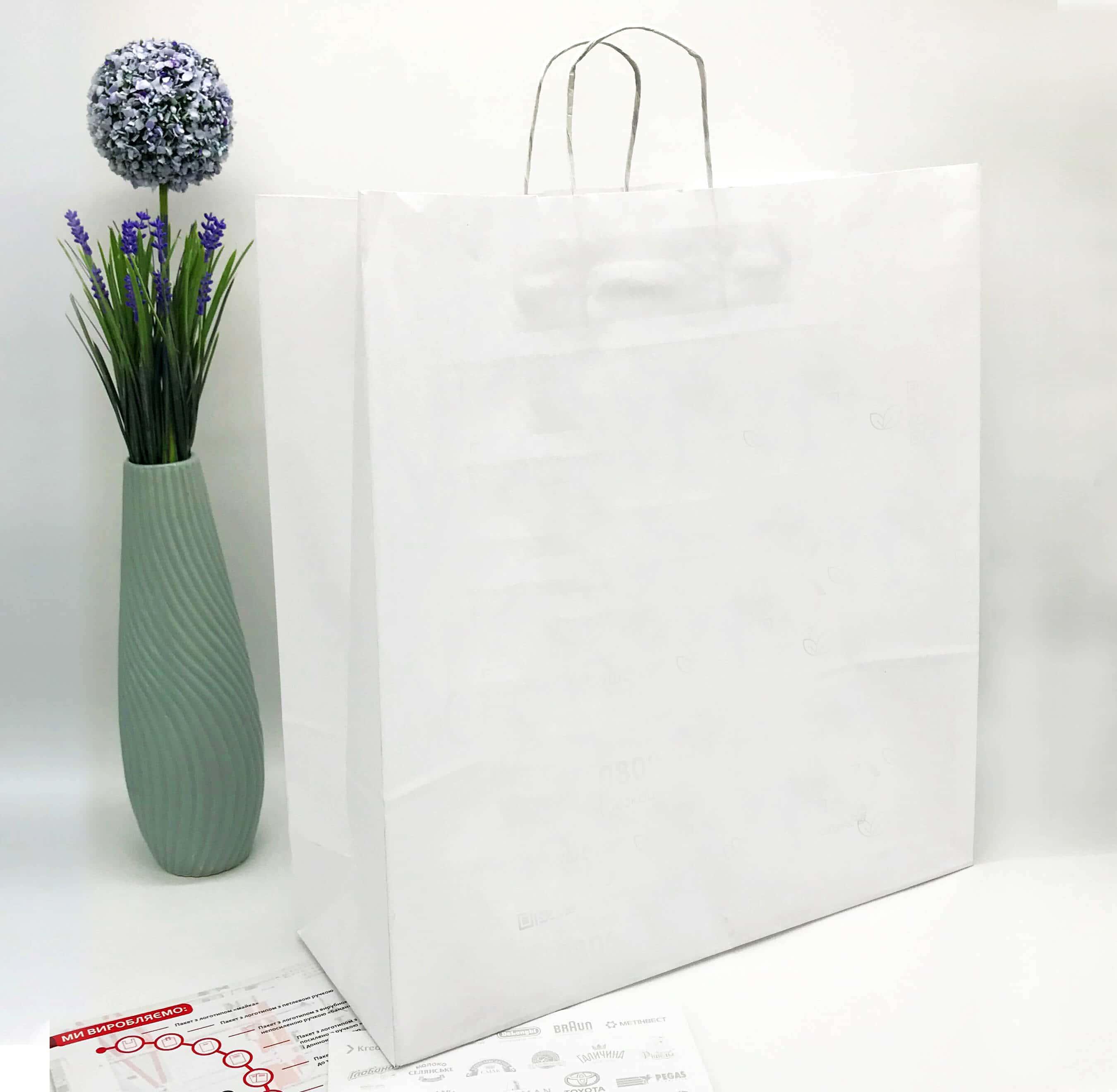 Белый крафт пакет без печати 450*480, 90 г/см -Chernigov Package - Фото Белый большой_бп
