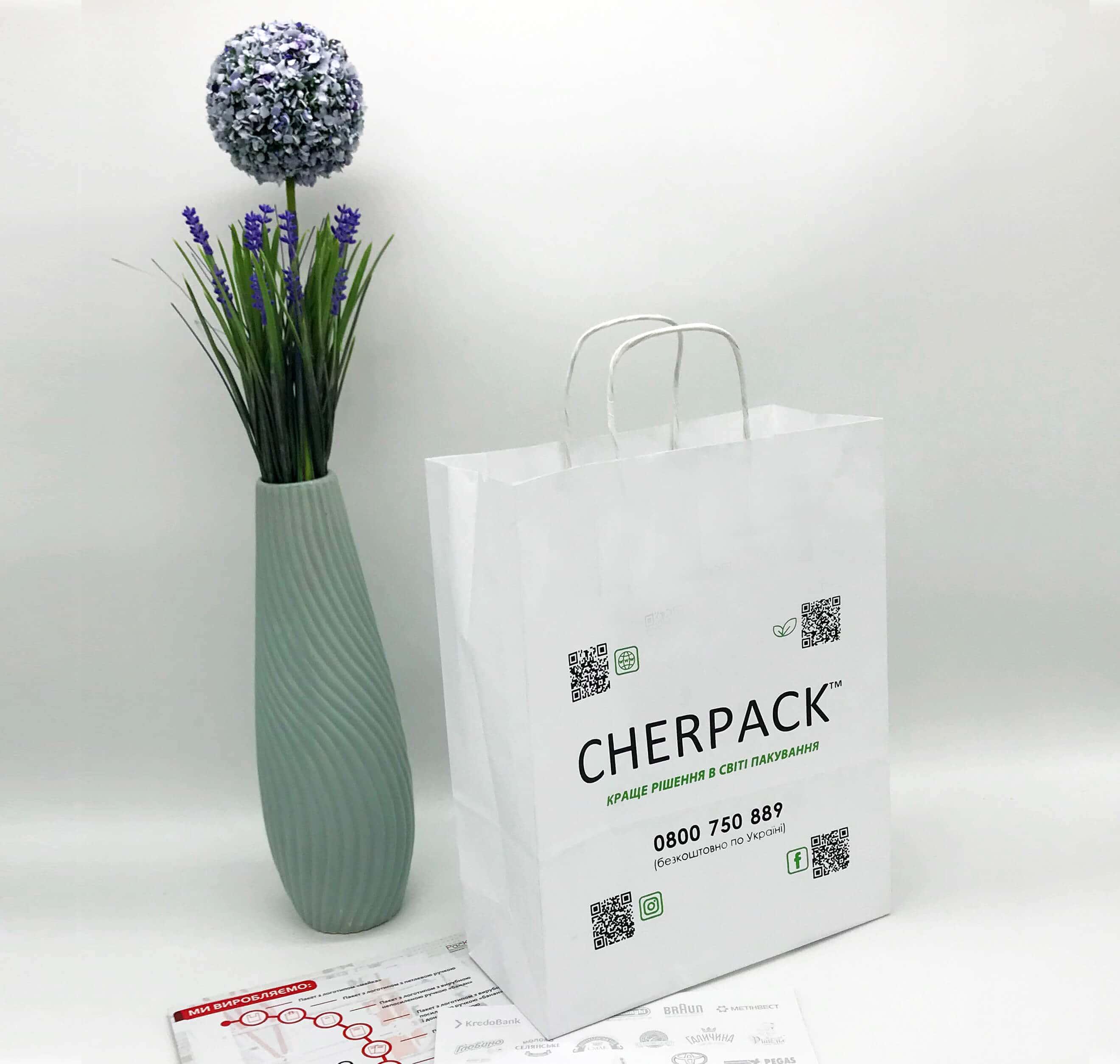 Белый крафт пакет с логотипом 250*320, 90 г/см -Chernigov Package - Фото Белый мал