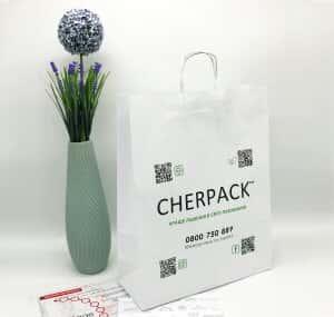 Белый крафт пакет с логотипом 320*400, 90 г/см -Chernigov Package - Фото Белый сред