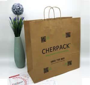 Бурый крафт пакет с логотипом 450*480, 90 г/см -Chernigov Package - Фото Бурый большой