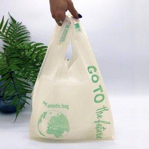 БИОпакеты с логотипом типа «майка» 280*480, 25 мкм,  PLA+PBAT -Chernigov Package - Фото Майка_PLA_кукуруза